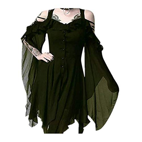 TWGONE Plus Size Gothic Dresses for Women Special Occasion Dark in Love Ruffle Sleeves Off Shoulder Midi Dress(XXXXX-Large,Green)