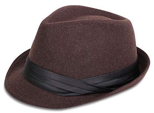 Simplicity Mens Felt Fedora Hat Unisex Classic Manhattan Fedara Hats,Coffee