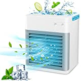 Portable Air Conditioner, Mini Air Cooler, Personal Evaporative Air Conditioner Fan, 2021 New Misting Fan with 1 USB Cable, 7 Colors LED Light for Home, Office and Room