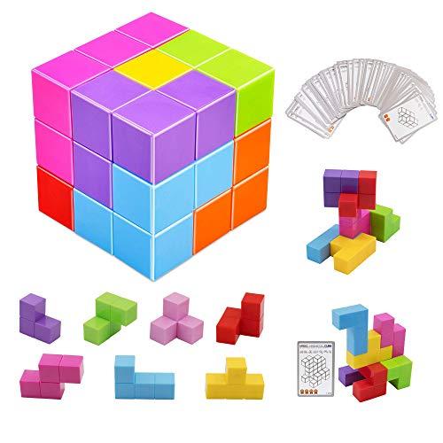 XMD マグネットパズル マグネットブロック 魔方 最強大脳ゲーム 賢人パズル Magnetic Cube Blocks マジックキューブ 子供 女の子 男の子 マグネットおもちゃ 磁石ブロック 積み木 誕生日 入園 クリスマス プレゼント (マルチカラー