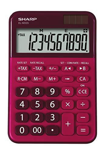 Sharp EL-M 335 Taschenrechner mit abgewinkelte Anzeige (Solar-/Batteriebetrieben) rot