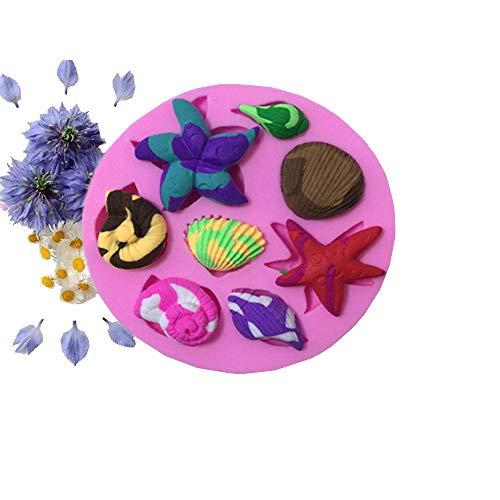 Molde de Pastel Estrella de mar concha de silicona molde de pasta de azúcar para la decoración de la torta Molde de caramelo de chocolate herramienta de hornada del molde del jabón Molde de Jello Band