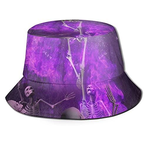 Sombrero de pescador 3D cráneo danza bosque fuego plegable sombrero verano sombrero sol para hombres mujeres negro