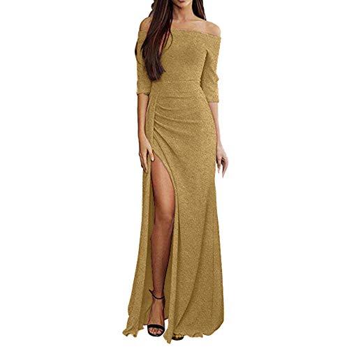 Zegeey Damen Schulterfreies Kleid als Abendkleid Paket-Hüfte-Kleid Partykleid Ballkleid Maxikleid...