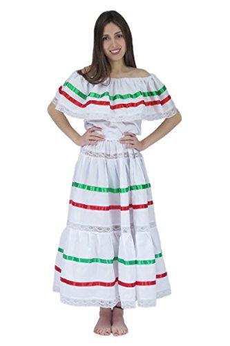 Mexican Clothing Co Mexikanisches Kleid für Damen - Wei� - Einheitsgröße