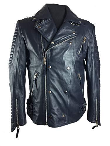 III-Fashions Men's Vintage Brando Motorcycle Quilted Ribble Blue Lambskin Genuine Leather Biker Jacket