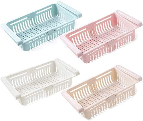 JS Cajones para frigoríficos, 4 unidades, organizador para frigorífico, cajón retráctil para frigorífico, cesta para ahorrar espacio