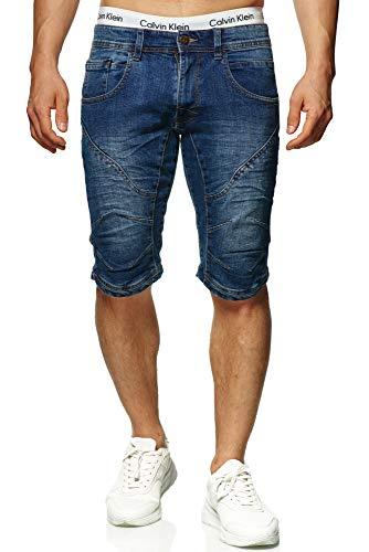 Indicode Herren Leon Shorts mit 5 Taschen aus 98% Baumwolle | Kurze Hose Regular Fit Bermuda Stretch Herrenshorts Denim-Optik Men Short Pants Jeans-Look Sommerhose kurz für Männer Medium Indigo M