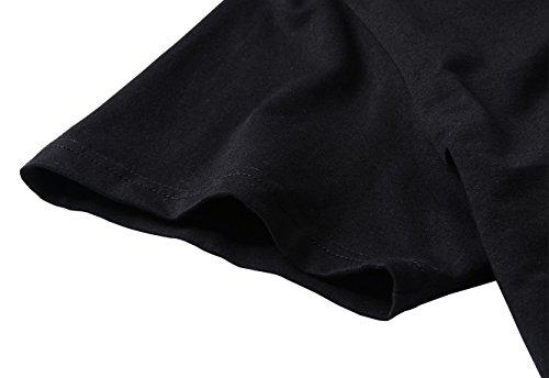 YITAN Womens Cotton Letter Print Short Sleeve Crewneck Tee Summer Funny Casual T-Shirt Black Large
