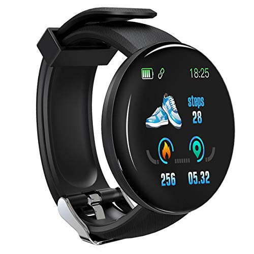 LZW Multifunktionale Intelligente Uhr, Sport-Tracker, Wasserdicht, Rund Bluetooth-Uhr, Männer Und Frauen Fitness-Armband, Kompatibel Mit Android Und IOS,Schwarz