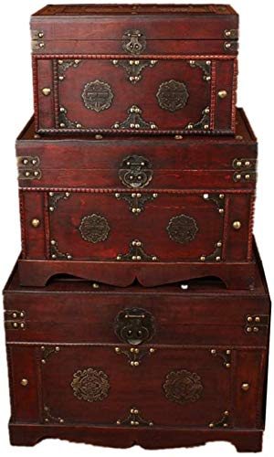 LHSUNTA Cajas de Almacenamiento de Madera Caja Decorativa Maleta clásica Caja de Almacenamiento Retro Cofres de Almacenamiento de baratijas de joyería Caja de Madera Decorativa de 3 Piezas