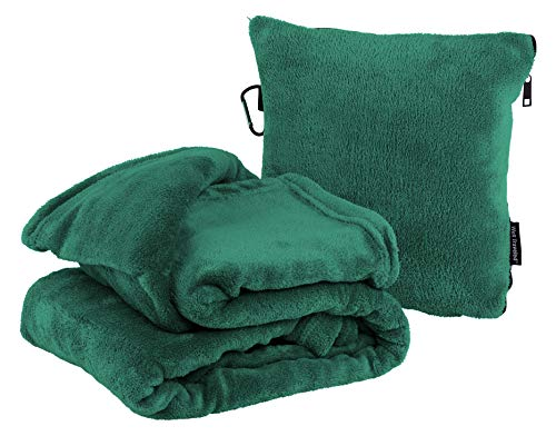 Well-Traveled 2 in 1 Throw Blanket with Carry Case – Warm Fleece Blanket - Airplane Plush Neck Pillow for Sleeping Throw – Lightweight & Durable Blanket Travel Pillow - Green