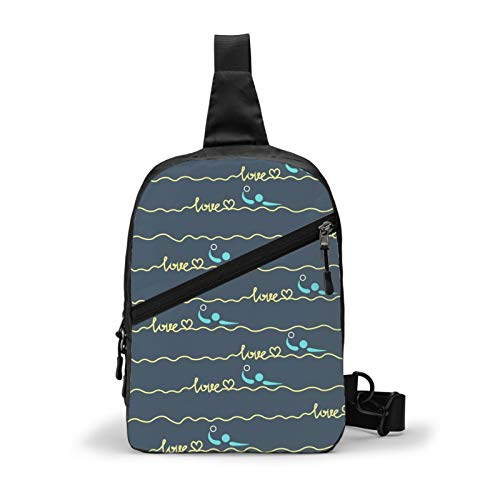 Ultra Lightweight Sling Backpack Cross Body Sling Backpack Multipurpose Anti-Theft Rope Bag for Hiking Cycling Walking Dog Bicycle Travel, Love Water Polo Heart Best Mom Gift Prints