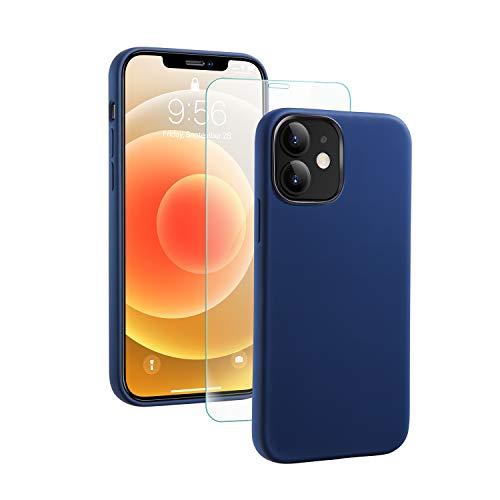 SmartDevil iPhone 12/ iPhone 12 Pro Hülle Silikon [Freier Schutzfilm] Stoßfest Dünn Handyhülle Luxusausgabe Silikon Schutzhülle mit Soft Microfaser Tuch Futter Bumper Case Cover-Dunkelblau