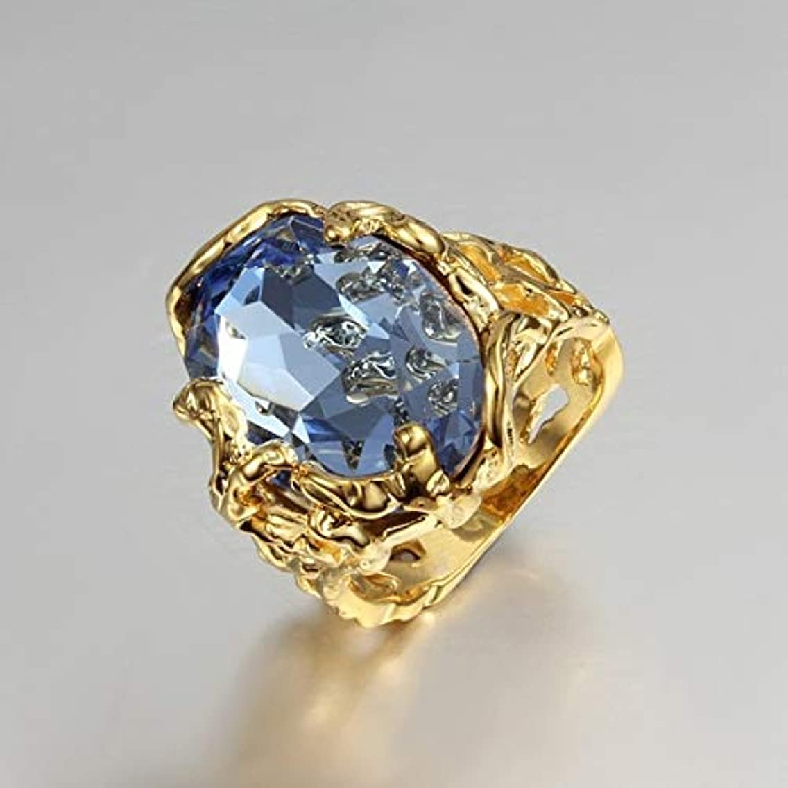 New Unique Gold Color Crystal Engagement Ring with Big Blue Zircon Wedding Rings for Women Ring Size 6/7/8/9 Yh184