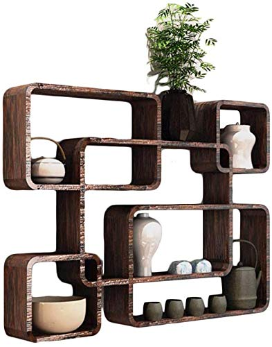 Home decoration display rack / Wall-mounted Chinese-style Small Shelf Teapot Holder Teacup Holder Plaid Rack Solid Wood Decorative Frame Antique Display Rack Multi-grid Multi-function Display Stand Da