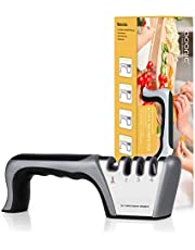 Adoric Knife Sharpener - Professional Kitchen 2 Stage Knife Sharpener for Straight and Main Kitchen Knives, Diamond, Tungsten Steel and Ceramic Rod Helps Repair, Restore and Polish Blades (2-StageMini)