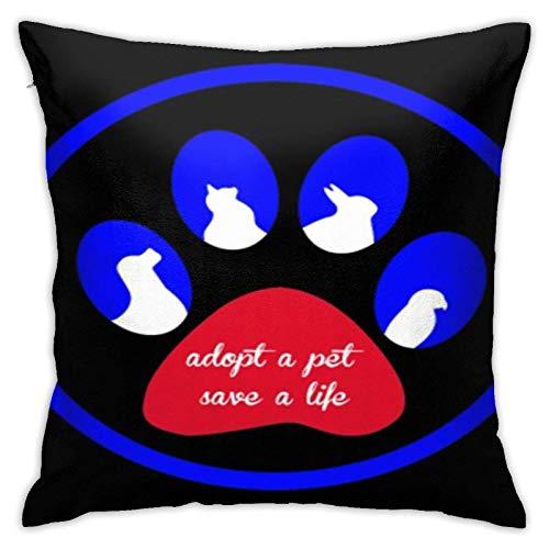 WH-CLA Funda De Almohada Adopt A Pet Save A Life Moda 45X45Cm Funda De Almohada para Dormitorio Cuadrado Ambos Lados Dormitorio Hogar Sofá Oficina Regalo Decoración Fundas De Almohada Fu
