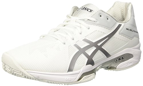 ASICS Herren Gel-Solution Speed 3 Clay Tennisschuhe, Elfenbein (White/Silver), 47 EU