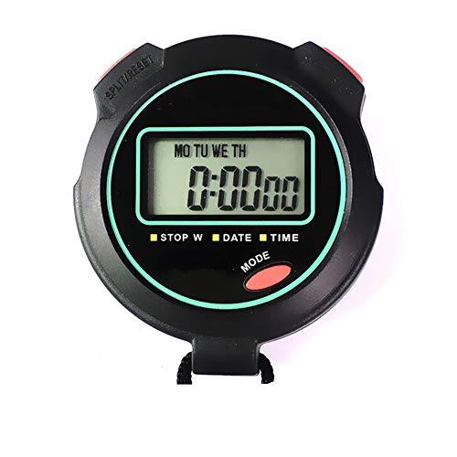 HO-TBO Digitale sportstopwatch timer, 2ST sportstopwatch met grote display datum wekker perfect voor trainer kinderen zwart geschikt voor alle sporten