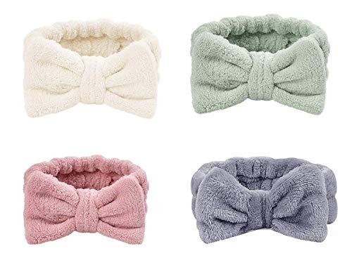 SIMIN 4 Stück Bowknot Haarband für Make up, Elastische Korallen Samt Gesicht Waschen Dusche Stirnband für Waschen Spa Yoga Beauty Gesichtspflege Make-up für Damen