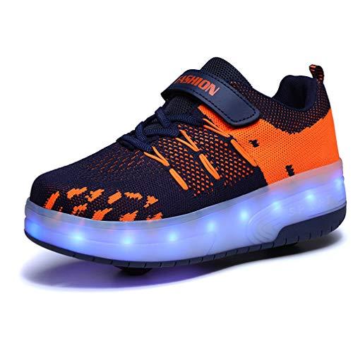 Unisex Niños LED Carga USB 7 Colores Flashing Sneaker Moda Doble Ruedas Skateboarding Zapatos LED Casual Zapatos Gimnasia Aptitud Rollerblades Aire Libre Deporte Zapatos Niños Niñas