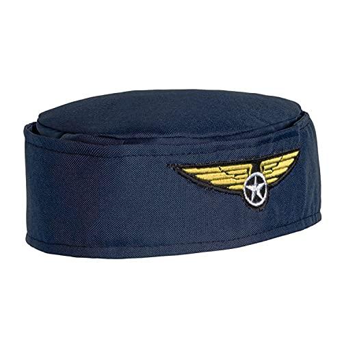 Boland 01356 - Hut Stewardess, Größe 56, dunkelblau-gold, Flugbegleiterin, Kapitän, Beruf, Kostüm, Karneval, Mottoparty