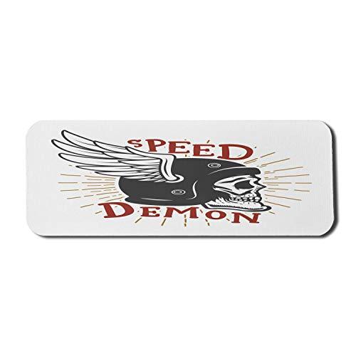 Biker Computer Mouse Pad, Speed Demon Schriftzug Schädel mit geflügeltem Schutzhelm, Rechteck rutschfestes Gummi Mousepad großes Zinnoberrot dunkelgrau