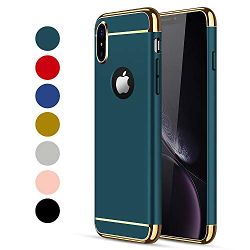 iPhone X/XS Case, CROSYMX 3 in 1 Ultra Thin and Slim Hard Case Coated Non Slip Matte Surface with Electroplate Frame for Apple iPhone X/XS(5.8'') - Dark Green