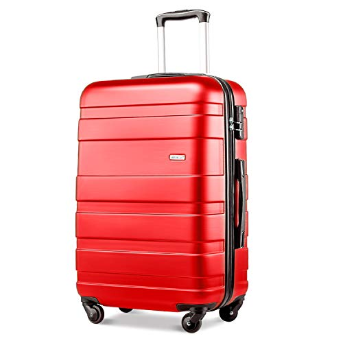 Merax Lightweight Luggage Hard Shell 4 Wheels Travel Trolley Suitcase Holdall Cabin Case (S, Red)