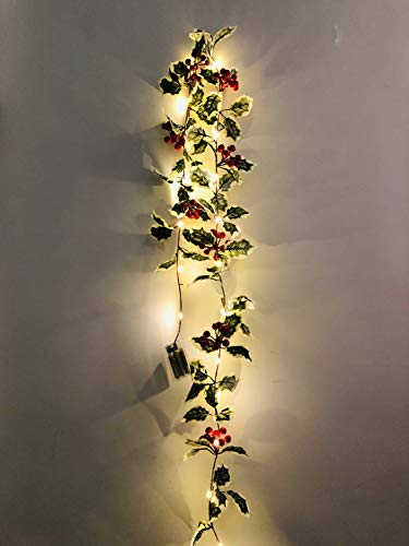 FANL Thanksgiving Christmas Red Berry Garland with LED String Light, Artificial Foliage Greenery Fireplace Decor & Home Xmas Decoration Indoor/Outdoor Decorations - 20 LEDs, 7FT