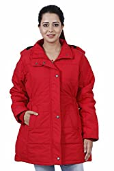 HIVER Womens Nylon Red Full-Sleeved Winter Jacket with Hood