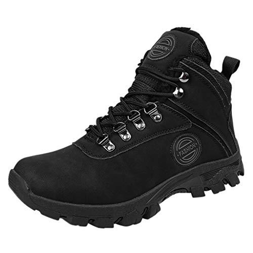 HDUFGJ Wanderschuhe Winter Plus Samt Warm rutschfeste Trekkingschuhe für Herren Trekking- & Wanderstiefel Bequem Leichtgewicht Laufschuhe Faule Schuhe Freizeitschuhe fitnessschuhe44 EU(Schwarz)