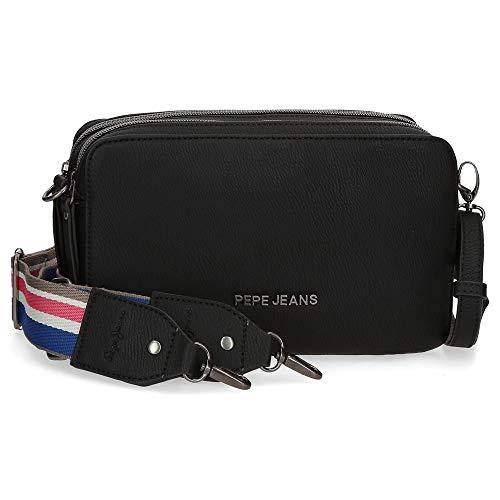 Pepe Jeans Eva Bandolera Dos Compartimentos Negro 25x18x6,5 cms Piel...