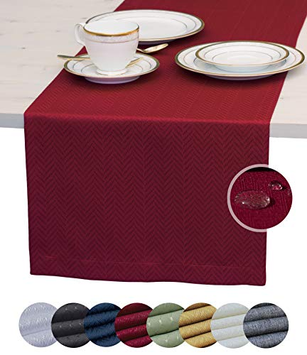 Red Table Runner 108 inch, Cranberry Dresser Scarf, Burgundy Outdoor Coffee Table Runner, Waterproof Dining Table Runners for Fiesta, Dinner Parties, Wedding, Decor Thanksgiving, Halloween,Christmas