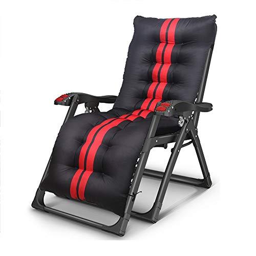 ZXL@ED Lebhafte Liegen Falten Mittagspause Haushalt Multifunktionsbett Lazy Beach Happy Portable Siesta Chair l/Schwarz + Schwarz und Rot