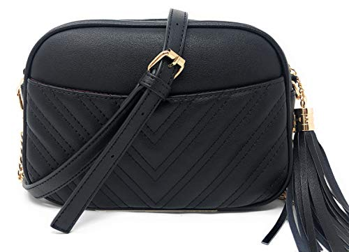 lola mae fashion cross body bag quilted front pocket with tassel (Black)