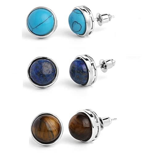 Pendientes oblatos de piedra natural, para mujer, turquesa / piedra de ojo de tigre / pendientes de lapislázuli, pendiente para niñas, regalo de joyería con piedras preciosas (3 pares)