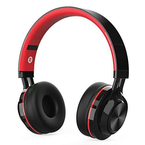 Auriculares Bluetooth Inalámbrico con Cancelación Ruido, MeihuaTu sobre Oreja Audífonos estéreo de HiFi con micrófono Incorporado Compatible con tabletas PC Huawei Xiaomi TV / Mp4 (Negro&Rojo)