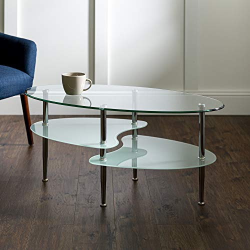 Walker Edison Furniture Company Modern Oval Coffee Accent Table Living Room, Wave Bottom, Clear Glass