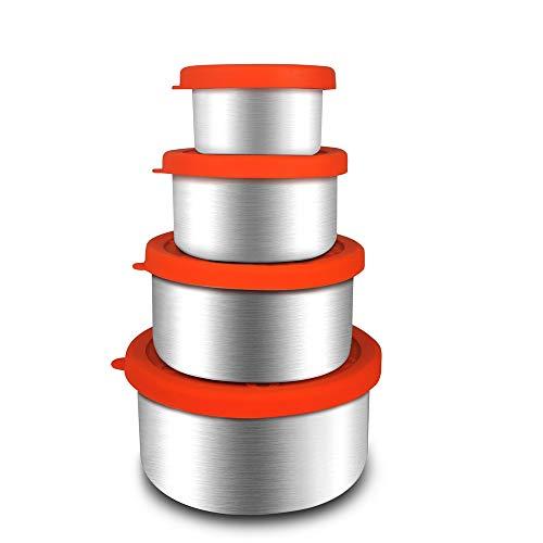 Set di 4 contenitori per Alimenti in Acciaio Inox, per Frigorifero, Senza BPA, con coperchi in Silicone, portavivande a Tenuta stagna (4 Pezzi di Dimensioni Diverse)