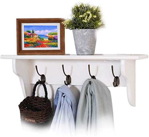 Stevige Houten Kapstok, aan de muur gemonteerde Garderobestaander Multifunctioneel rek met 4 haken for Hal Slaapkamer thuiskantoor White 60cm, Maat: 60cm, Kleur: Rood (Color : White, Size : 60cm)