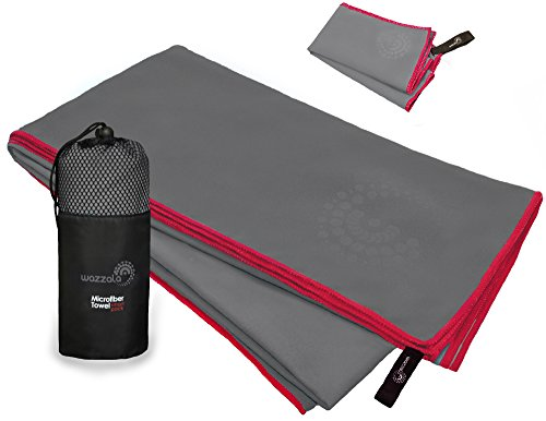 Wazzala Premium Microfiber Towel for Travel, Swimming, Backpacking and Outdoors. Includes Bonus Small Hand, Face Towel and Mesh Bag. Quick-Dry, Compact. with Hook. XL Large. 55 x 27 inches