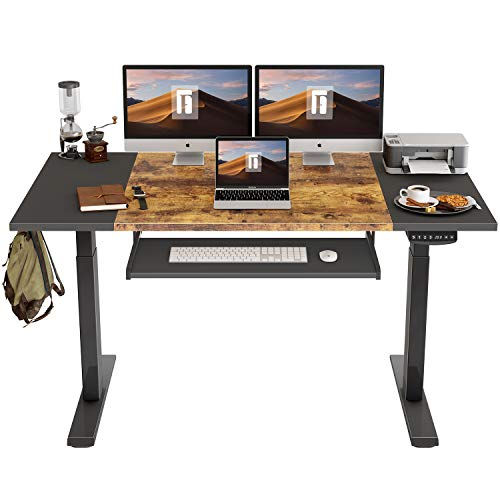 FEZIBO Dual Motor Height Adjustable Electric Standing Desk with Keyboard Tray, 63 x 24 Inch Sit Stand Table with Splice Board, Black Frame/Black and Rustic Brown Top
