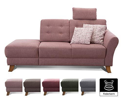 Cavadore Recamiere Trond mit Federkern / Modernes Sofa im Landhausstil mit Armteil rechts / Inkl. Kopfstütze und Rückenkissen / 194 x 89 x 92 / Flachgewebe rosa