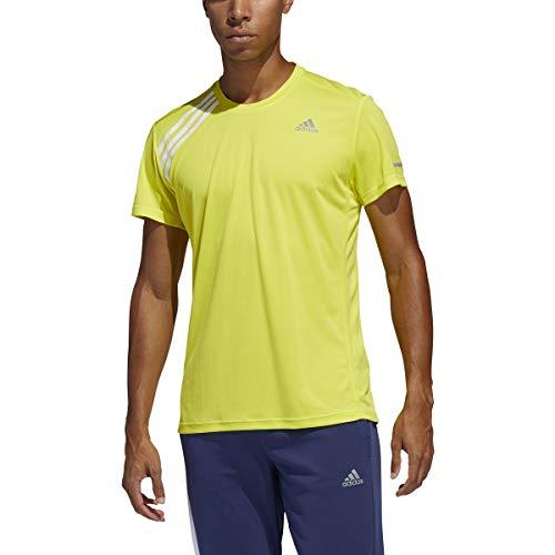 adidas Originals Own The Run Tee - Camiseta de manga corta - FYR48, playera de correr, Medium, Amarillo/Blanco
