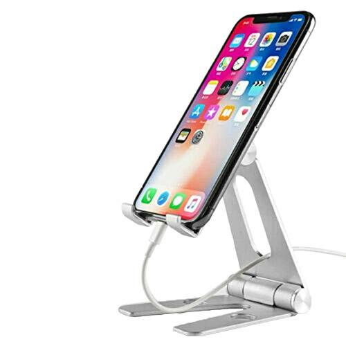 Coomir standaard draaibaar opvouwbare telefoonhouder voor babybed van aluminiumlegering voor kleine smartphones grote smartphones, zilver.