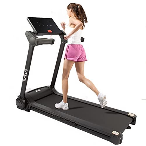 Z ZELUS Tapis Roulant Pieghevole Elettrico Treadmill Professionale Alzabile velocità Regolabile 14,8KM/H Allenamento Fitness per Casa Ufficio Bluetooth con USB App (Deluxe; 14,8 km/h)