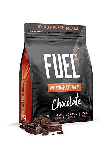 FUEL10K Chocolate - The Complete Meal Shake - High Protein and Fibre - 10 Servings, 1KG