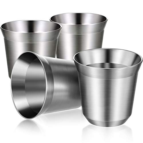 4 Pieces Stainless Steel Espresso Cups 2.7 oz 80 ml Double Wall Insulated Cups Heat Resistant Espresso Coffee Cups Unbreakable Stemless Tumbler Small Cup for Indoor or Outdoor Events Picnics Party